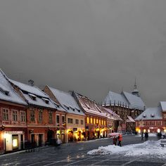 "Winter evening, Brasov, Romania ""The ""The more than 500 years old. survived from medieval times. next to Catherine's Gate, built in a small mountain in the middle of the city. Brasov Romania, Visit Romania, Out Of Africa, In The Heights, Places To See, The Good Place, Beautiful Places, Around The Worlds, Explore"