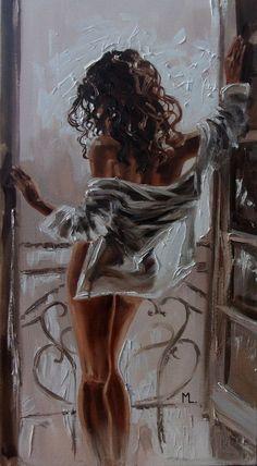 """ SUNNY MORNING ""- window liGHt ORIGINAL OIL PAINTING, GIFT, PALETTE KNIFE by Monika Luniak"