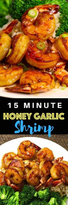 The easiest, most unbelievably delicious Honey Garlic Shrimp. And it'll be on your dinner table in just 15 minutes. Succulent shrimp marinated in honey, garlic, soy sauce and ginger mix, seared in frying pan. Ready in 15 minutes! Quick and easy dinner rec Fish Recipes, Seafood Recipes, Asian Recipes, Chicken Recipes, Cooking Recipes, Healthy Recipes, Garlic Shrimp Recipes, Easy Shrimp Recipes, Gastronomia
