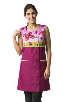 Bata maestra tirantes 8395-892 Teacher Apron, Jellyroll Quilts, Dresses For Work, Summer Dresses, Teacher Outfits, Couture, Dame, Preschool, Sewing