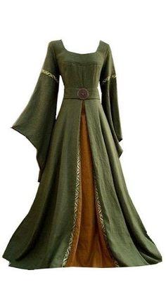 Green and burnt orange renaissance dress Mode Renaissance, Renaissance Costume, Renaissance Dresses, Medieval Costume, Renaissance Wedding, Medieval Fashion, Medieval Clothing, Historical Clothing, Gypsy Clothing