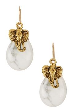 White Marble Howlite Elephant Earrings
