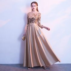 SSYFashion New Mother of The Bride Dress The Banquet Elegant Gold and Navy Blue Sleeves Satin Sequins Long Party Formal Gown - Hijab+ Gold Evening Dresses, Gold Prom Dresses, Long Sleeve Evening Dresses, Long Bridesmaid Dresses, Dress Long, Bride Dresses, Sequin Bridesmaid, Wedding Dresses, Hijab Dress Party