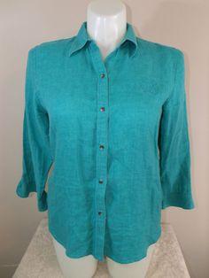 Lauren Ralph Lauren L Turquoise Blue Linen 3/4 Long Sleeve Button Down Shirt EUC #LaurenRalphLauren #ButtonDownShirt #Casual