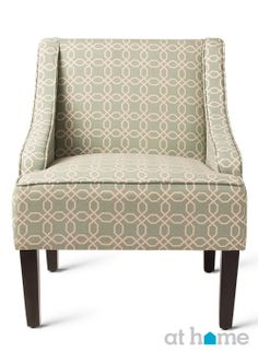 Green, geometric-patterned accent #chair