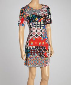 Another great find on #zulily! Red & Royal Patchwork Shift Dress #zulilyfinds