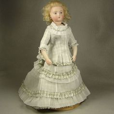 Silk with White Organdy Lady Doll Dress for 12 inch French Fashion NYDP Body made by Carol H. Straus, 2015. carolstraus.com #silkandtrim