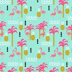 flamingo pink and mint coral cute pineapple summer beach tropical kids print fabric by charlottewinter on - Kid Prints