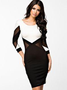 B&W Bodycon Mesh Dress