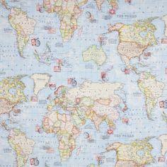 Dekorační látka Mapa světa, metráž