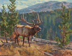 Fire Alarm - elk painting by Chad Poppleton