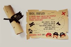 Piratas - Convite Mapa Pergaminho
