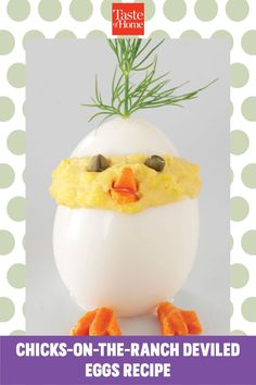 """""""A hint of Dijon mustard, Parmesan cheese and ranch salad dressing take the flavor of these absolutely adorable deviled eggs to new heights!"""" —Taste of Home Test Kitchen Ranch Salad Dressing, Mustard Dressing, Carrot Chips, Deviled Eggs Recipe, Taste Of Home, Easter Brunch, Test Kitchen, Home Recipes, The Ranch"""
