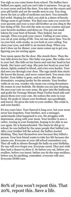 Maybe not everyone cares the way you want them to, but EVERYONE is affected when you leave.<<<<< I cried, but it's true guys, keep fighting.