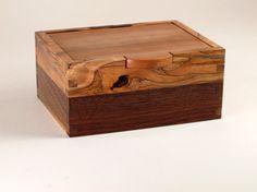 Reclaimed Black Walnut, Spalted Maple, and Wavy Maple Keepsake Box on Etsy, $50.77 CAD