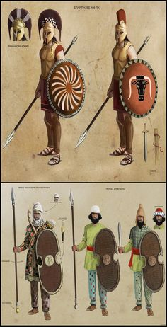 The Spartans and Persians at Thermopylae Ancient Persian, Ancient Art, Ancient History, Persian Warrior, Greek Warrior, Greco Persian Wars, Alexandre Le Grand, Rome Antique, Spartan Warrior