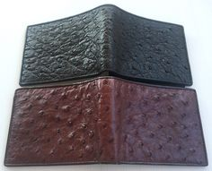 636a432404a4 Genuine Real Ostrich Leather Skin Men Bifold Trifold Wallet Exotic Luxury  New