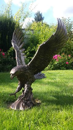 XL Sehr großer Adler Wings of Glory bronziert Gartenfigur In- & Outdoor