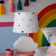 Rainbow Dots Shade with Ceramic Cloud Shaped Base by Drew Barrymore Flower Kids Image 2 of 7 Rainbow Room Kids, Rainbow Bedroom, Rainbow Nursery Decor, Bright Nursery, Ideas Habitaciones, Cloud Shapes, Rainbow Decorations, Wooden Wall Decor, Playroom Decor