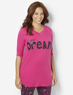 Add a fun and feminine update to your bedtime look with this fresh sleep tunic. Cozy style comes in your choice of bold, screen prints. Long-length style features a banded V-neckline and raglan sleeves. Complete with gathered fabric at the shoulders for an extra special touch. Pairs perfectly with our Heartbreaker Sleep Legging for matching style! For your comfort, Catherines sleepwear has been made specifically for the plus size figure. catherines.com