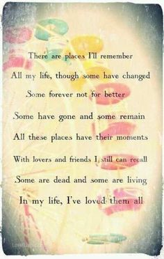 """All my life - The Beatles. whenever I see """"The Beatles"""" or anything that is related to them, I always think of him. Maybe it'll take a very long time to recover from this break-up Beatles Quotes, Beatles Lyrics, Les Beatles, Lyric Quotes, Music Lyrics, Life Quotes, Life Lyrics, Lyric Art, Reggae Music"""