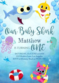 Our Baby Shark Birthday Boy or Girl Song Do Do Do Theme Invitation Invite Party, ALL text editable, Baby Boy 1st Birthday Party, Birthday Themes For Boys, Birthday Ideas, Baby Hai, 1st Birthday Invitations, Birthday Banners, Party Invitations, First Birthdays, Lalaloopsy Party