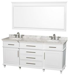 Wyndham Collection Berkeley White Double Vanity, Carrara Marble Top