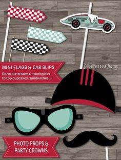 Vintage Race Car Party Pack Race Car Birthday Banner Cupcake Toppers Labels Race Car Party Decor by LaBelleStudio, $15.00   https://www.etsy.com/listing/190723209/vintage-race-car-party-pack-race-car