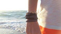 Moorea semiprecious stones handmade leather wrap bracelets Onyx and hematite  www.mooreastore.com