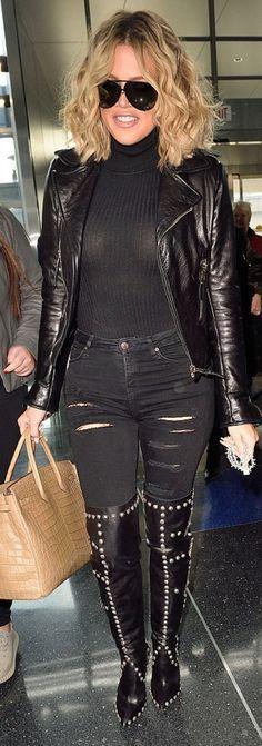 Khloe Kardashian: Sunglasses – Porsche  Shoes – Fausto Puglisi  Sweater – Babaton For Aritzia Johannes  Purse – Hermes  Jeans – Frame
