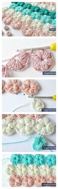 Crochet Flower Puff Stitch Free Pattern - Les re. - Crochet Flower Puff Stitch Free Pattern – Les re… Crochet Flower Puff Stitch Free Pattern – Les repère en même temps que fibule les plus basiques comprennent le centr Crochet Diy, Crochet Motifs, Love Crochet, Crochet Crafts, Yarn Crafts, Crochet Flowers, Crochet Stitches, Blanket Crochet, Diy Crafts