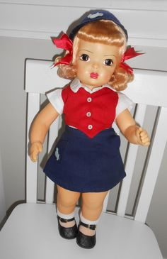Doll Terri Lee Blonde Raysheen Wig Bluebird Scout Uniform Scouting tagged 1950