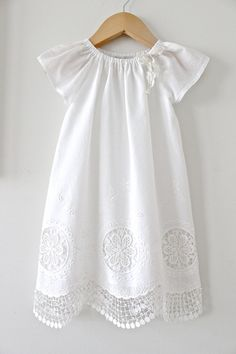 Baby Girl Baptism DressAntique White and Lace by ChasingMini