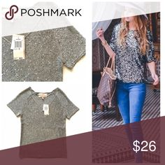"""NWT Philosophy sequin gray pullover Sz XS Item: NWT Philosophy Republic  gray short sleeve sequin v-neck pullover. This is absolutely stunning and would look amazing over a plaid shirt for the fall or just wear with skinny jeans and booties also. Dress it up or down. Pic on right is just inspiration for styling.  Size: XS  Measurements: bust 15""""across  length 24"""" Philosophy Sweaters V-Necks"""