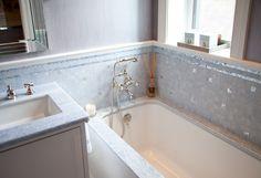 "Bathroom Walls - Blue Sky Med. Dark Polished Marble 1"" Square Mosaic.  Vanity Top & Tub Deck - Custom Fabricated in V#056 Opal Blue Polished Marble.  Bathroom Wall Moldings - Thassos Polished Marble Chair Rail."