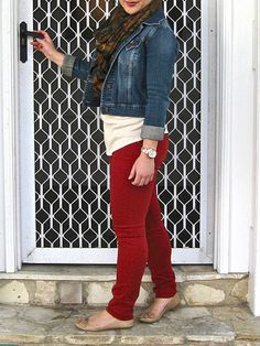 red jeans with jean jacket and leopard scarf