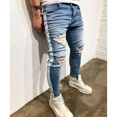 d0b9ccb58e Distressed ripped holes Side striped Zipper hip hop jeans. Pantalones  GucciRopa Informal MasculinaModa ...