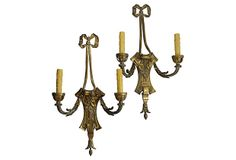 Brass  2-Arm Sconces, Pair on OneKingsLane.com