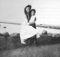 Grand Duchess Olga and her brother Tsarevich Alexei Nikolaevich.