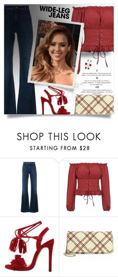 """""""Flare Up: Wide-Leg Jeans"""" by beautifulplace ❤ liked on Polyvore featuring The Seafarer, Miu Miu, denimtrend and widelegjeans"""