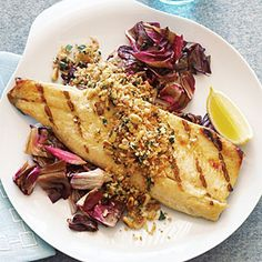 Grilled Trout Fillets with Crunchy Pine-Nut Lemon Topping Recipe