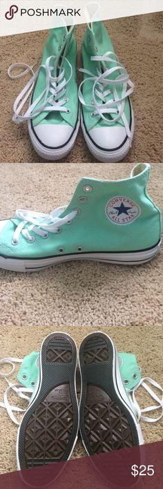 Brand new mint converses Never worn! Mint color high top converse Converse Shoes Sneakers