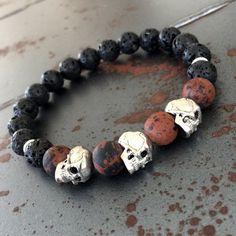 FREE US SHIPPING  Men's skull bracelet  Lava by ArarekojewelryMen