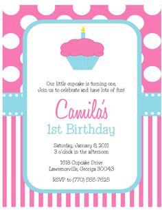 >Cupcake Party: Polka Dot and Stripe Birthday Invitations - Sweet Peach Paperie Cupcake Invitations, Passport Wedding Invitations, 1st Birthday Invitations, Baby Shower Invitations For Boys, Elephant Birthday, Turtle Birthday, Pink Birthday, 7th Birthday, Birthday Parties