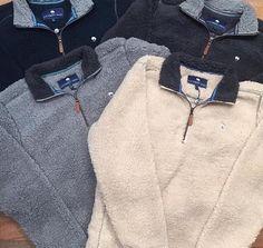 Southern Shirt Company - 1/4 Zip Sherpa Pullover - Grey or Tan - $98