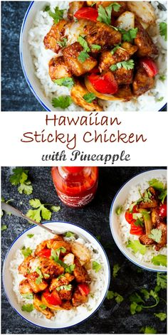 This Hawaiian Sticky Chicken with Pineapple. Tender chicken breast, pineapple, onion and peppers, cooked in a sweet and salty sauce until deliciously caramelised. Best Chicken Recipes, Turkey Recipes, Asian Recipes, Healthy Recipes, Pineapple Recipes, Pineapple Rice, Hawaiian Recipes, Sticky Chicken, Turkey Dishes