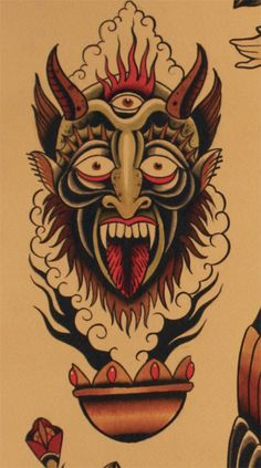 Find the perfect tattoo artist to create the work of art that is you Simbols Tattoo, Occult Tattoo, Tatto Old, Demon Tattoo, Fire Tattoo, Samurai Tattoo, Traditional Tattoo Inspiration, Traditional Tattoo Design, American Traditional Sleeve