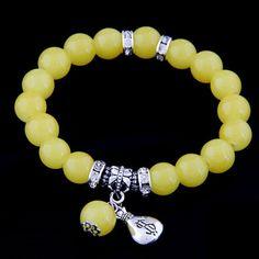 pulsera bisuteria elastica abalorios perla amarilla colgante dolar etnico pop