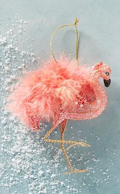 Feathered Flamingo Ornament #anthroregistry