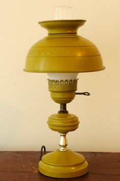 Vintage olive green toleware hurricane lamp by andfoundfurnishings, $165.00 Hurricane Lamps, Lamp Shades, Olive Green, Table Lamp, Cottage Ideas, Lighting, Unique Jewelry, Metal, Vintage